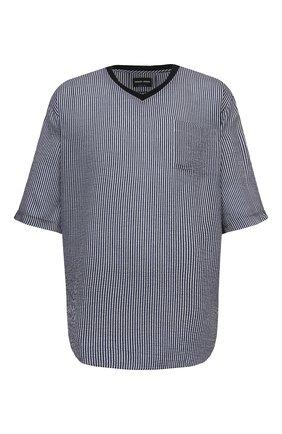 Мужская футболка из вискозы и шелка GIORGIO ARMANI темно-синего цвета, арт. 1SGCCZ59/TZ838 | Фото 1