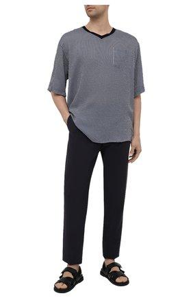 Мужская футболка из вискозы и шелка GIORGIO ARMANI темно-синего цвета, арт. 1SGCCZ59/TZ838 | Фото 2