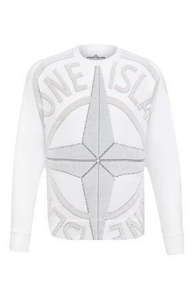 Мужской хлопковый джемпер STONE ISLAND белого цвета, арт. 7415514D1 | Фото 1