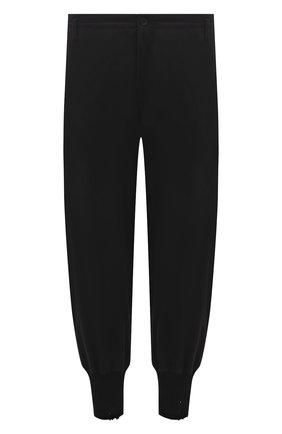 Мужские хлопковые джоггеры YOHJI YAMAMOTO черного цвета, арт. HD-T06-077 | Фото 1 (Длина (брюки, джинсы): Стандартные; Материал внешний: Хлопок; Силуэт М (брюки): Джоггеры; Мужское Кросс-КТ: Брюки-трикотаж; Стили: Спорт-шик)