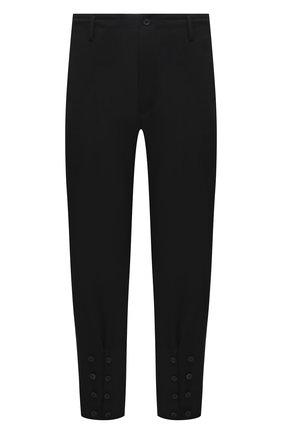Мужские шерстяные брюки YOHJI YAMAMOTO черного цвета, арт. HD-P18-100 | Фото 1 (Длина (брюки, джинсы): Стандартные; Материал внешний: Шерсть; Случай: Повседневный; Материал подклада: Купро; Стили: Минимализм)