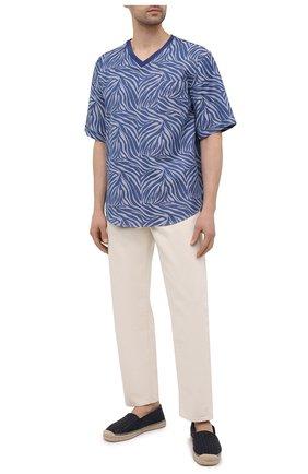 Мужская хлопковая футболка GIORGIO ARMANI синего цвета, арт. 1SGCCZ59/TZ872 | Фото 2