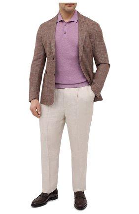 Мужское поло из хлопка и кашемира LUCIANO BARBERA сиреневого цвета, арт. 109B43/53119/58-62 | Фото 2