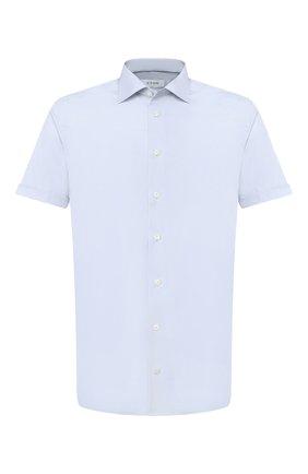 Мужская хлопковая сорочка ETON голубого цвета, арт. 2567 79515 | Фото 1 (Длина (для топов): Стандартные; Рукава: Короткие; Материал внешний: Хлопок; Стили: Классический; Случай: Формальный; Принт: Однотонные; Рубашки М: Regular Fit; Воротник: Акула)