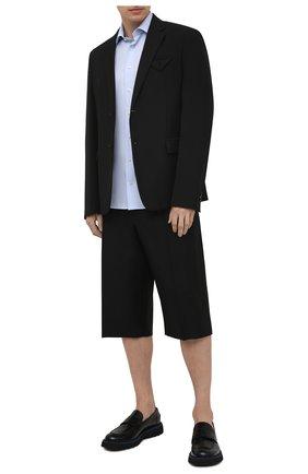 Мужская хлопковая сорочка ETON голубого цвета, арт. 2567 79515 | Фото 2 (Длина (для топов): Стандартные; Рукава: Короткие; Материал внешний: Хлопок; Стили: Классический; Случай: Формальный; Принт: Однотонные; Рубашки М: Regular Fit; Воротник: Акула)