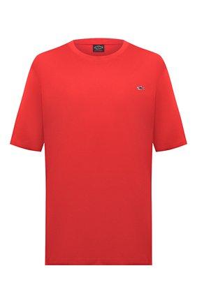 Мужская хлопковая футболка PAUL&SHARK красного цвета, арт. C0P1092/C00/3XL-6XL | Фото 1