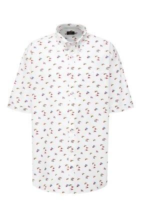 Мужская хлопковая рубашка PAUL&SHARK белого цвета, арт. 21413453/C00 | Фото 1 (Рукава: Короткие; Материал внешний: Хлопок; Случай: Повседневный; Стили: Кэжуэл; Принт: С принтом; Рубашки М: Regular Fit; Воротник: Button down; Big sizes: Big Sizes; Длина (для топов): Удлиненные)