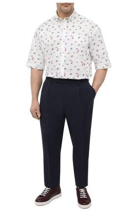Мужская хлопковая рубашка PAUL&SHARK белого цвета, арт. 21413453/C00 | Фото 2 (Рукава: Короткие; Материал внешний: Хлопок; Случай: Повседневный; Стили: Кэжуэл; Принт: С принтом; Рубашки М: Regular Fit; Воротник: Button down; Big sizes: Big Sizes; Длина (для топов): Удлиненные)
