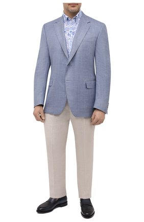 Мужская льняная рубашка PAUL&SHARK голубого цвета, арт. 21413427/F7E | Фото 2
