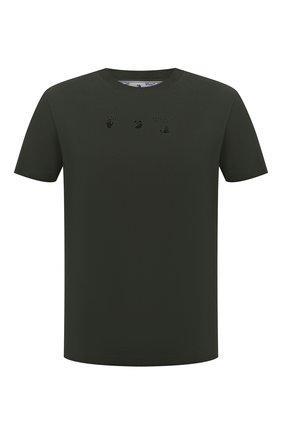 Мужская хлопковая футболка OFF-WHITE хаки цвета, арт. 0MAA027S21JER012   Фото 1