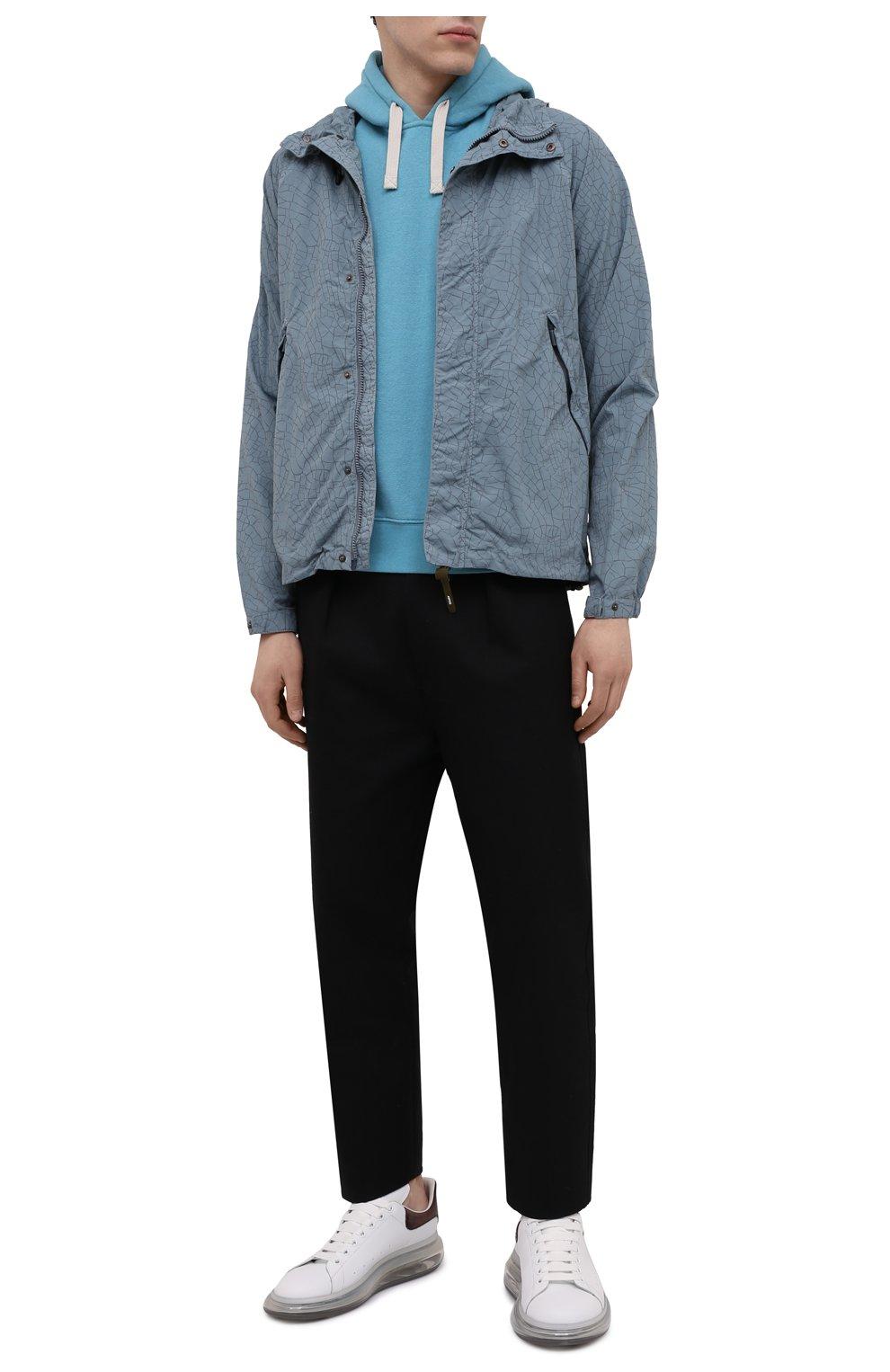 Мужская куртка ASPESI бирюзового цвета, арт. S1 I I116 G402   Фото 2 (Кросс-КТ: Куртка, Ветровка; Рукава: Длинные; Материал внешний: Синтетический материал; Длина (верхняя одежда): Короткие; Стили: Кэжуэл)