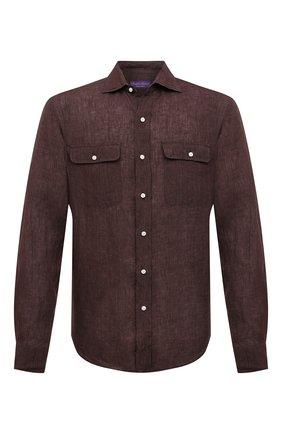Мужская льняная рубашка RALPH LAUREN коричневого цвета, арт. 790836054 | Фото 1