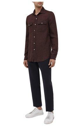 Мужская льняная рубашка RALPH LAUREN коричневого цвета, арт. 790836054 | Фото 2