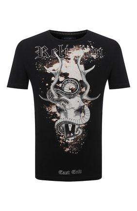 Мужская хлопковая футболка RELIGION черного цвета, арт. 11BSGN03 | Фото 1