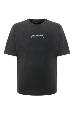Мужская хлопковая футболка RELIGION серого цвета, арт. 11TS0N23   Фото 1