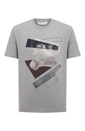 Мужская хлопковая футболка Z ZEGNA серого цвета, арт. VW364/ZZ649D   Фото 1 (Материал внешний: Хлопок; Длина (для топов): Стандартные; Рукава: Короткие; Принт: С принтом; Стили: Кэжуэл)