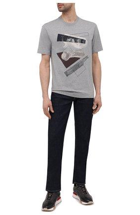 Мужская хлопковая футболка Z ZEGNA серого цвета, арт. VW364/ZZ649D   Фото 2 (Материал внешний: Хлопок; Длина (для топов): Стандартные; Рукава: Короткие; Принт: С принтом; Стили: Кэжуэл)