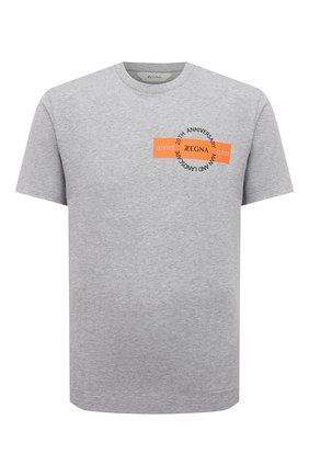 Мужская хлопковая футболка Z ZEGNA серого цвета, арт. VW362/ZZ649P   Фото 1 (Рукава: Короткие; Длина (для топов): Стандартные; Материал внешний: Хлопок; Принт: С принтом; Стили: Кэжуэл)