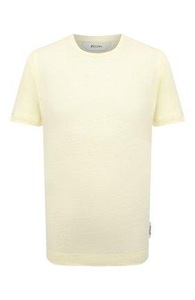 Мужская льняная футболка Z ZEGNA желтого цвета, арт. VW311/ZZ691 | Фото 1 (Рукава: Короткие; Длина (для топов): Стандартные; Материал внешний: Лен; Принт: Без принта; Стили: Кэжуэл)