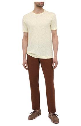 Мужская льняная футболка Z ZEGNA желтого цвета, арт. VW311/ZZ691 | Фото 2 (Рукава: Короткие; Длина (для топов): Стандартные; Материал внешний: Лен; Принт: Без принта; Стили: Кэжуэл)