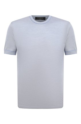 Мужская шелковая футболка ERMENEGILDO ZEGNA голубого цвета, арт. UW330/706 | Фото 1