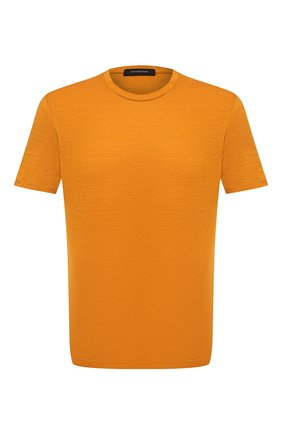 Мужская льняная футболка ERMENEGILDO ZEGNA оранжевого цвета, арт. UU564/706   Фото 1 (Рукава: Короткие; Длина (для топов): Стандартные; Материал внешний: Лен; Принт: Без принта; Стили: Кэжуэл)