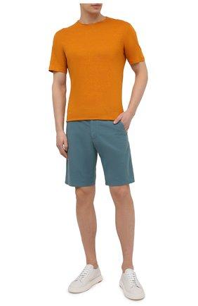 Мужская льняная футболка ERMENEGILDO ZEGNA оранжевого цвета, арт. UU564/706   Фото 2 (Рукава: Короткие; Длина (для топов): Стандартные; Материал внешний: Лен; Принт: Без принта; Стили: Кэжуэл)