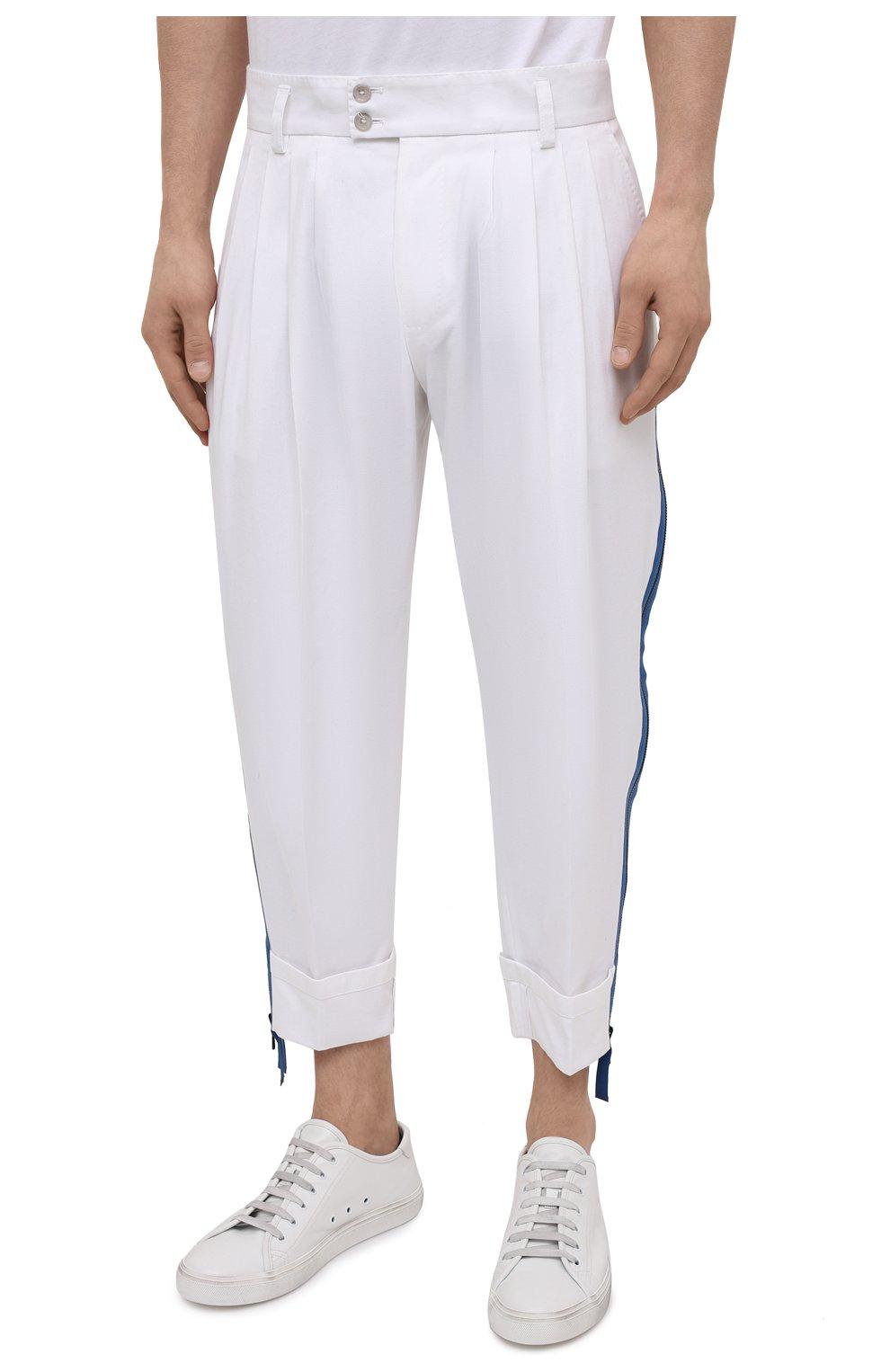 Мужские хлопковые брюки DOLCE & GABBANA белого цвета, арт. GWHXAZ/FUFJU | Фото 3