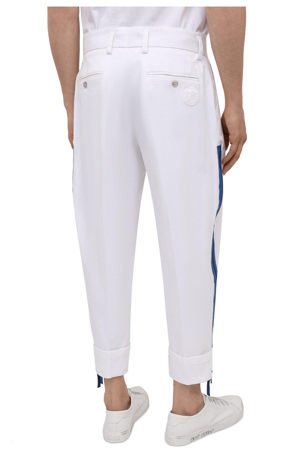 Мужские хлопковые брюки DOLCE & GABBANA белого цвета, арт. GWHXAZ/FUFJU | Фото 4