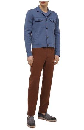 Мужской кардиган из шелка и хлопка BRIONI синего цвета, арт. UMID0L/P0K21 | Фото 2 (Материал внешний: Хлопок, Шелк; Длина (для топов): Стандартные; Рукава: Длинные; Мужское Кросс-КТ: Кардиган-одежда; Стили: Кэжуэл)