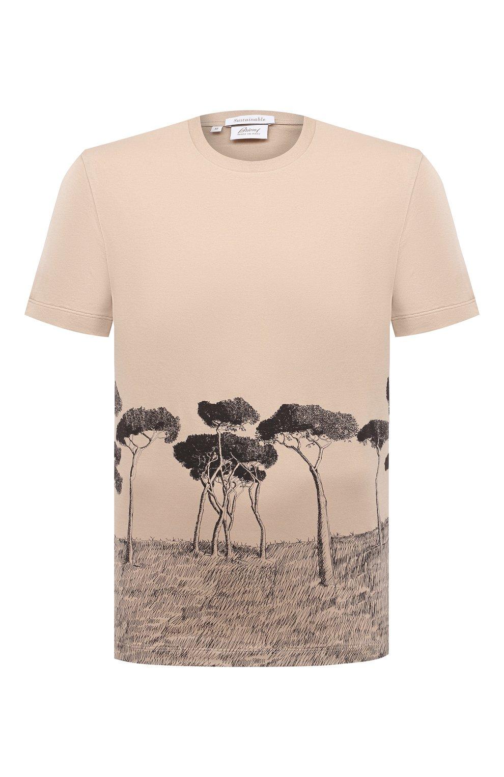 Мужская хлопковая футболка BRIONI бежевого цвета, арт. UJCH0L/P0646   Фото 1