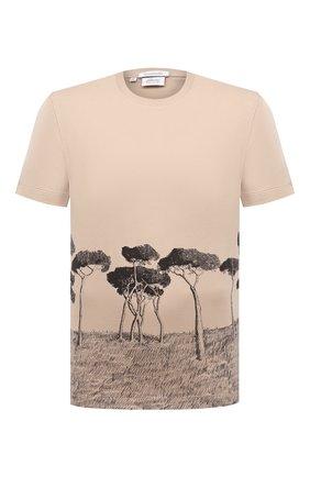 Мужская хлопковая футболка BRIONI бежевого цвета, арт. UJCH0L/P0646 | Фото 1 (Материал внешний: Хлопок; Рукава: Короткие; Длина (для топов): Стандартные; Принт: С принтом; Стили: Кэжуэл)