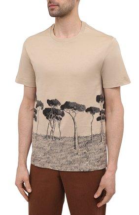 Мужская хлопковая футболка BRIONI бежевого цвета, арт. UJCH0L/P0646   Фото 3