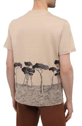 Мужская хлопковая футболка BRIONI бежевого цвета, арт. UJCH0L/P0646   Фото 4
