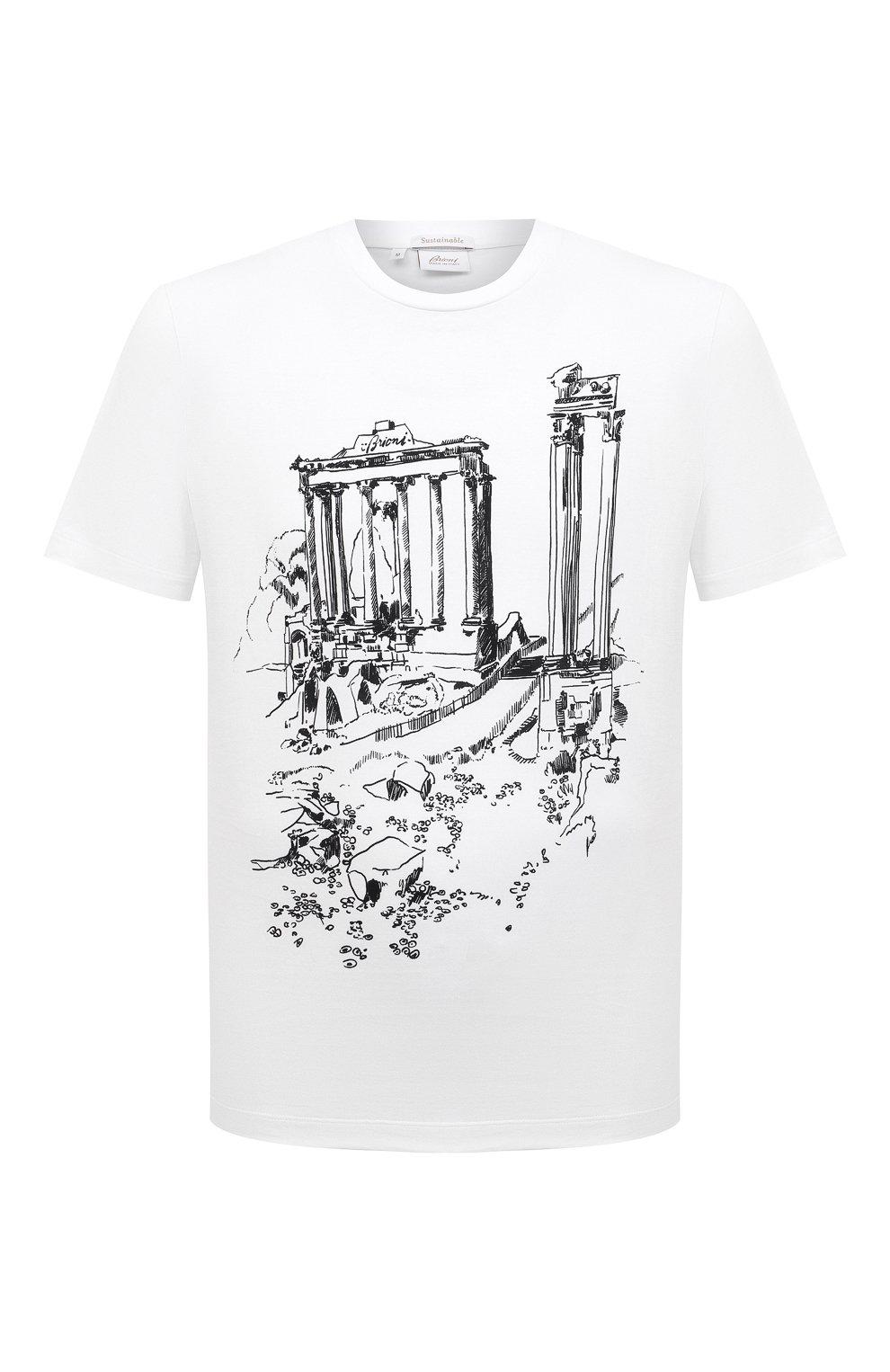 Мужская хлопковая футболка BRIONI белого цвета, арт. UJCH0L/P0643   Фото 1