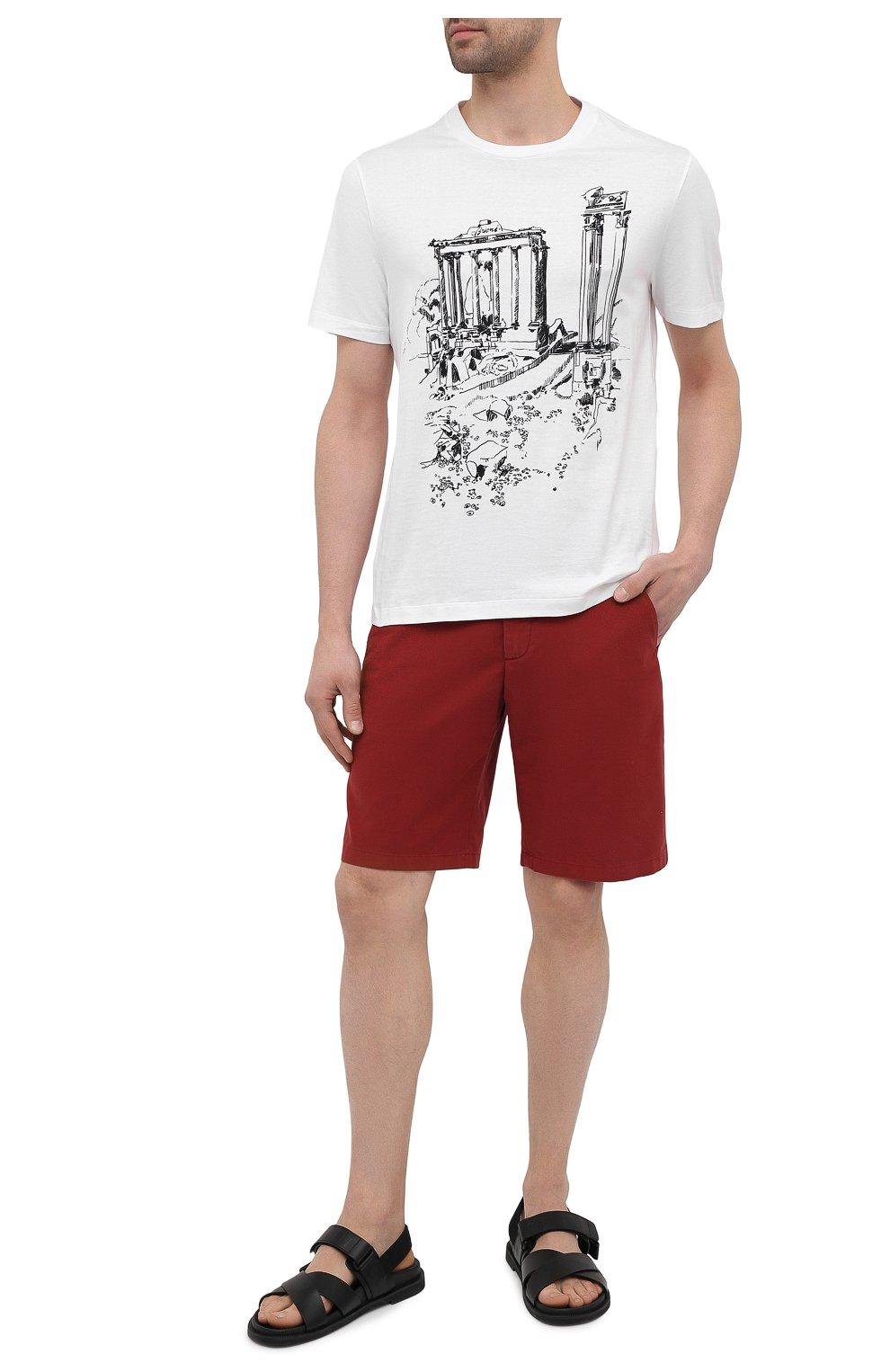 Мужская хлопковая футболка BRIONI белого цвета, арт. UJCH0L/P0643   Фото 2