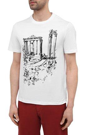 Мужская хлопковая футболка BRIONI белого цвета, арт. UJCH0L/P0643   Фото 3