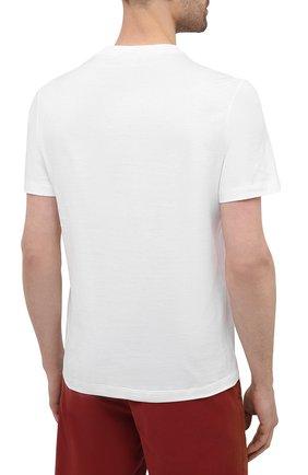 Мужская хлопковая футболка BRIONI белого цвета, арт. UJCH0L/P0643   Фото 4