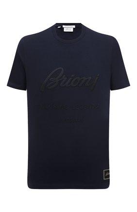 Мужская хлопковая футболка BRIONI темно-синего цвета, арт. UJCH0L/P0636 | Фото 1 (Длина (для топов): Стандартные; Рукава: Короткие; Материал внешний: Хлопок; Принт: С принтом; Стили: Кэжуэл)
