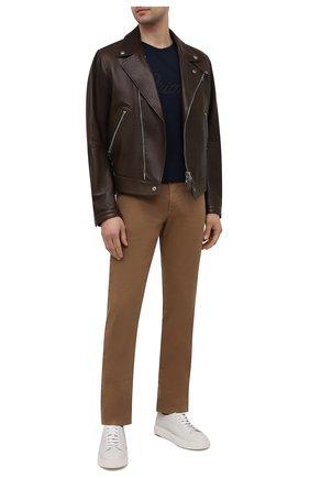 Мужская хлопковая футболка BRIONI темно-синего цвета, арт. UJCH0L/P0636 | Фото 2 (Длина (для топов): Стандартные; Рукава: Короткие; Материал внешний: Хлопок; Принт: С принтом; Стили: Кэжуэл)