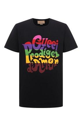 Мужская хлопковая футболка GUCCI черного цвета, арт. 548334/XJDAM | Фото 1 (Рукава: Короткие; Материал внешний: Хлопок; Длина (для топов): Стандартные; Принт: С принтом; Стили: Гранж)