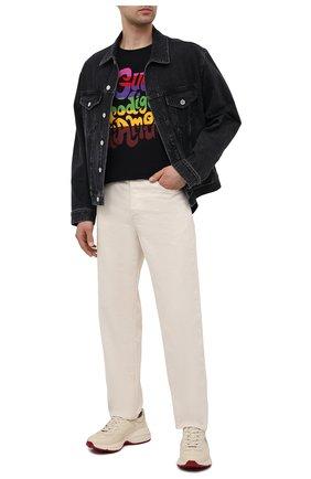 Мужская хлопковая футболка GUCCI черного цвета, арт. 548334/XJDAM | Фото 2 (Рукава: Короткие; Материал внешний: Хлопок; Длина (для топов): Стандартные; Принт: С принтом; Стили: Гранж)