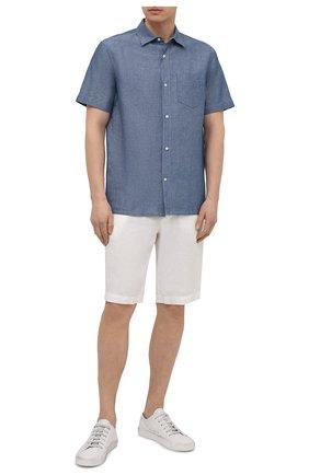 Мужская рубашка изо льна и хлопка LORO PIANA голубого цвета, арт. FAL6375 | Фото 2