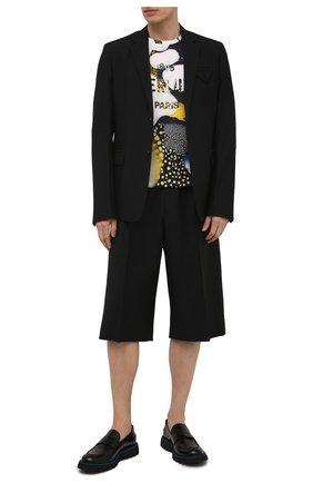 Мужская хлопковая футболка BERLUTI разноцветного цвета, арт. R19JRS57-001   Фото 2 (Материал внешний: Хлопок; Длина (для топов): Стандартные; Рукава: Короткие; Принт: С принтом; Стили: Кэжуэл)