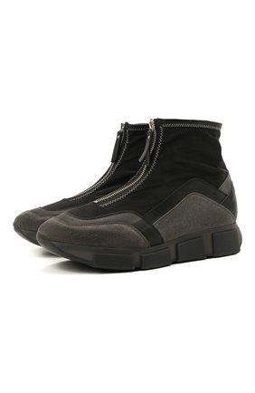 Мужские комбинированные кроссовки VIC MATIE черного цвета, арт. 1Z5906U.V04TZDT207 | Фото 1 (Материал внешний: Текстиль; Материал внутренний: Натуральная кожа, Текстиль; Подошва: Массивная; Стили: Гранж)