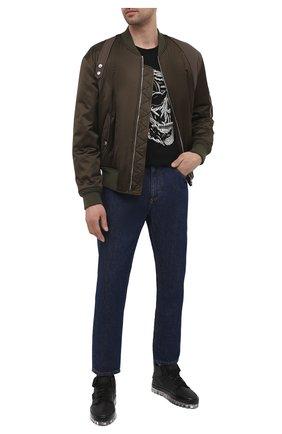 Мужские кожаные кеды RBRSL черного цвета, арт. 7Z2284U.Y40C8MBN45   Фото 2