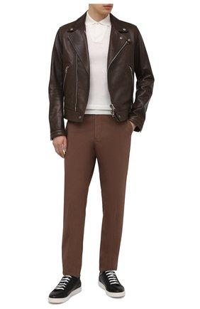 Мужские кожаные кеды KITON черного цвета, арт. USSSUITN00126 | Фото 2 (Материал внутренний: Натуральная кожа; Подошва: Массивная)