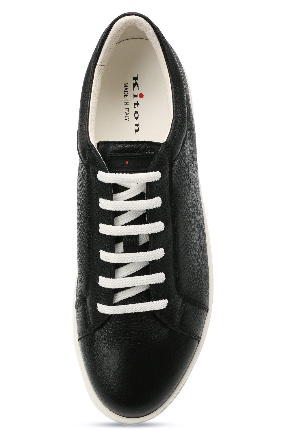 Мужские кожаные кеды KITON черного цвета, арт. USSSUITN00126 | Фото 5 (Материал внутренний: Натуральная кожа; Подошва: Массивная)