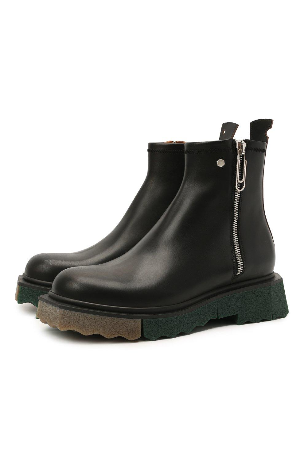 Мужские кожаные сапоги OFF-WHITE черного цвета, арт. 0MID004S21LEA0011010 | Фото 1
