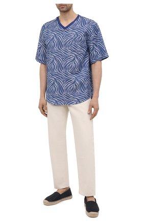 Мужские кожаные эспадрильи boccaccio DOLCE & GABBANA темно-синего цвета, арт. A50438/AX054 | Фото 2 (Материал внутренний: Натуральная кожа, Текстиль)